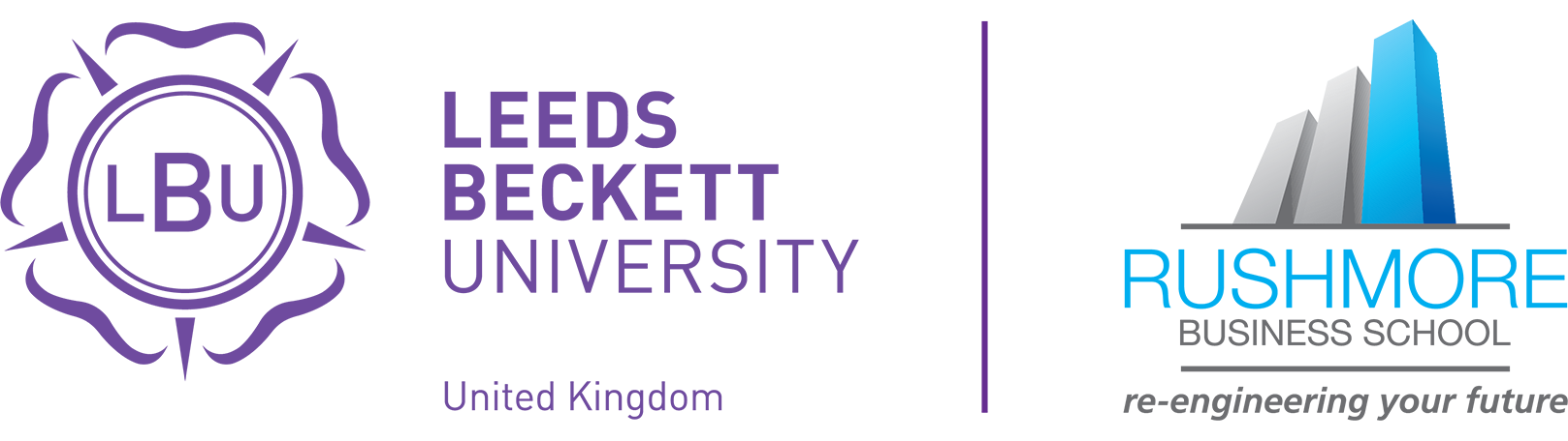 Joint Leeds Beckett and Rushmore Business School logo
