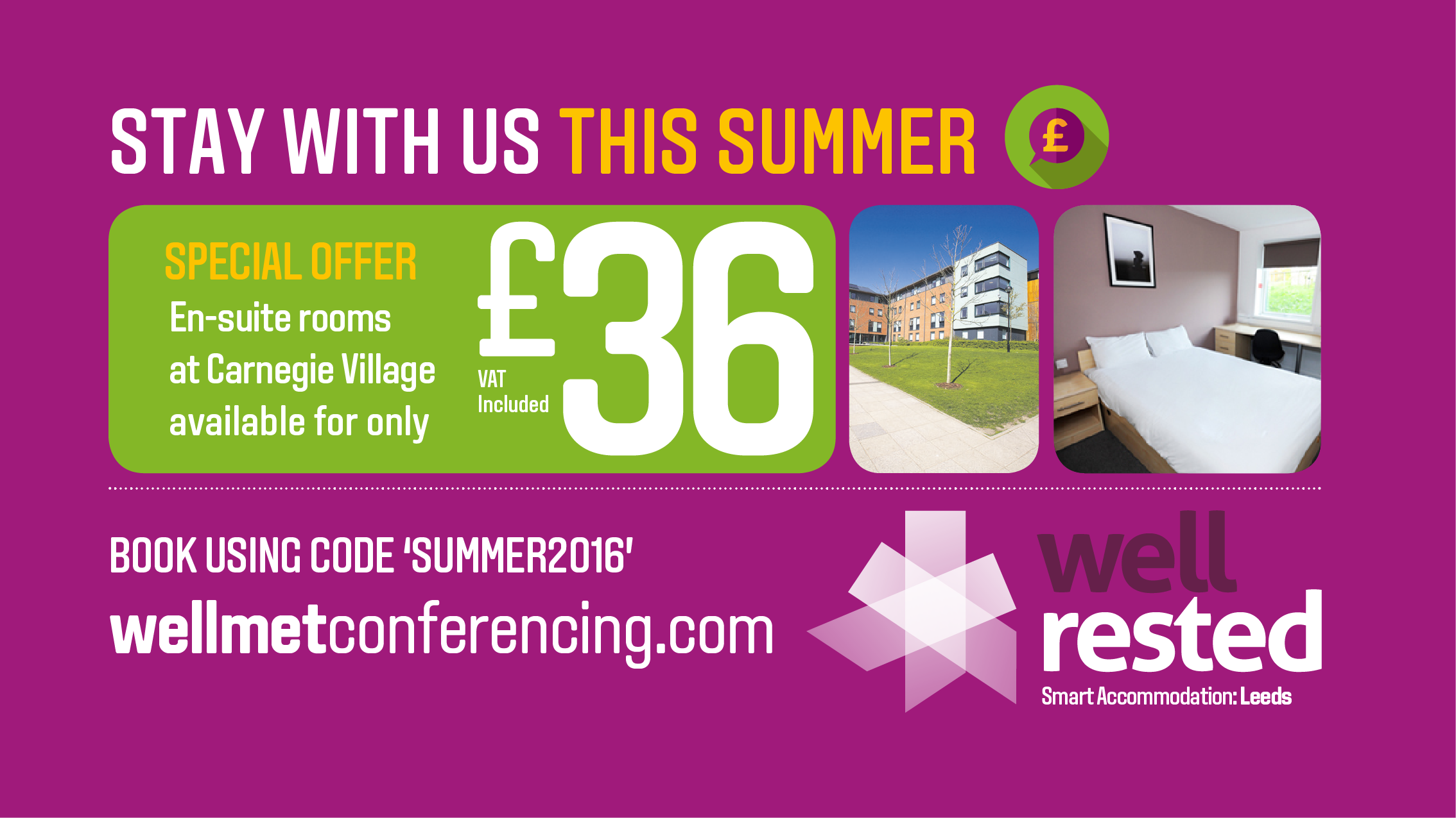 Book your room with us this summer for just £36