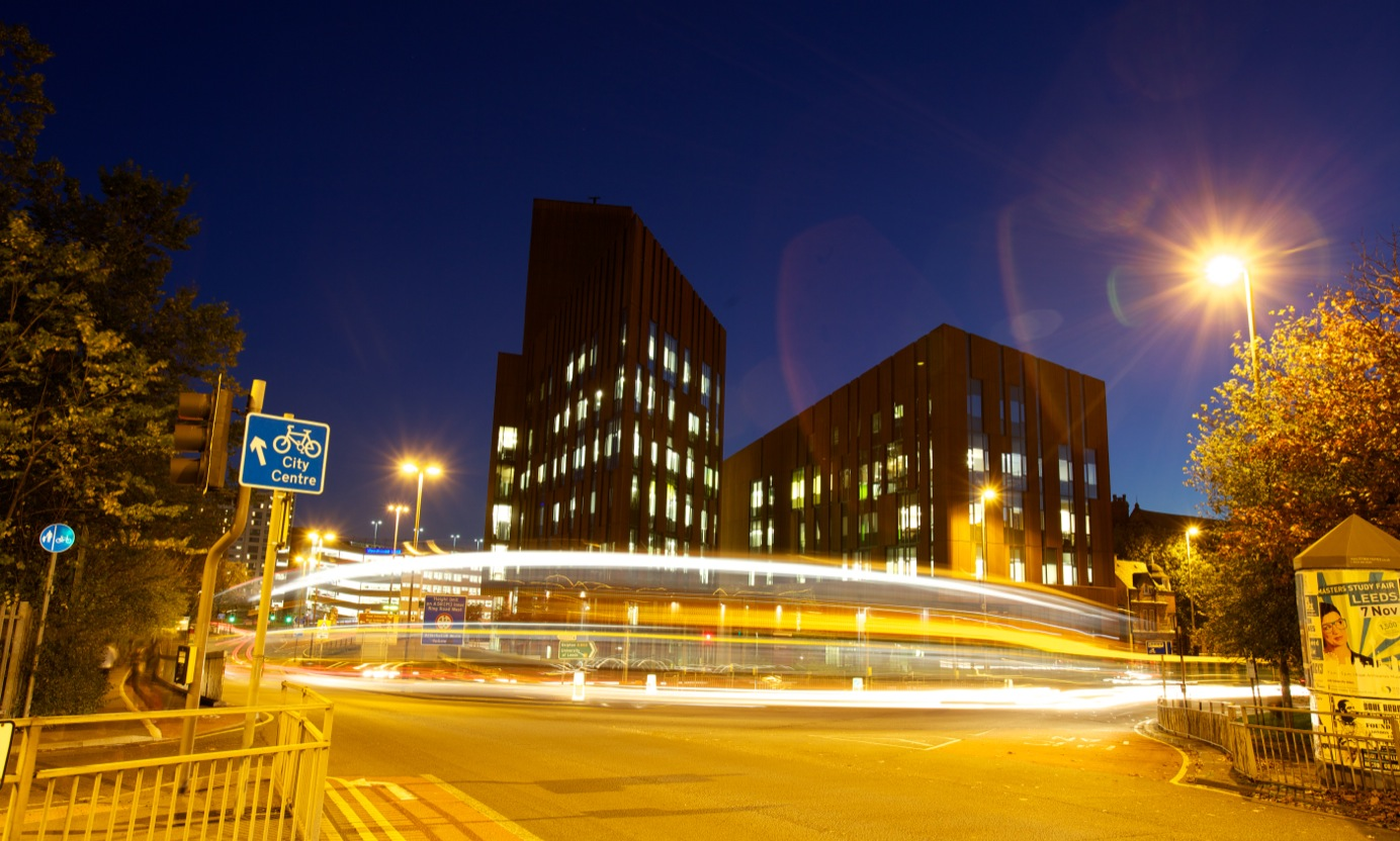 City campus at night
