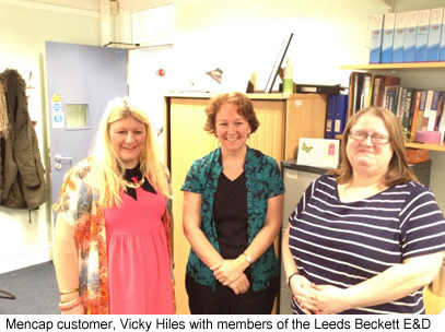 Mencap customer, Vicky Hiles with members of the Leeds Beckett E&D