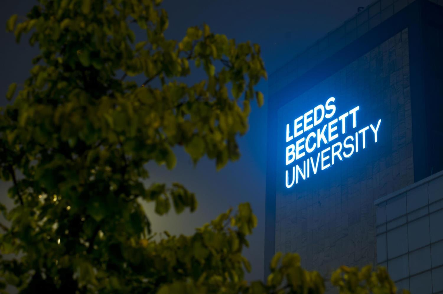 Portland Building with Leeds Beckett University sign