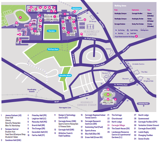 Parkland Campus Map.Getting To Our Headingley Campus