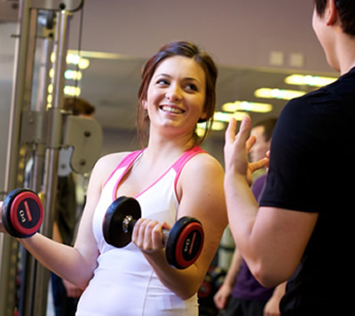 Personal training in the gym facilities on campus