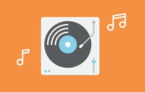 Vinyl player on orange background