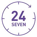Leeds Beckett Library open 24/7 logo