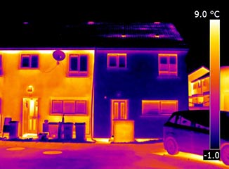 Thermal imagery of a house