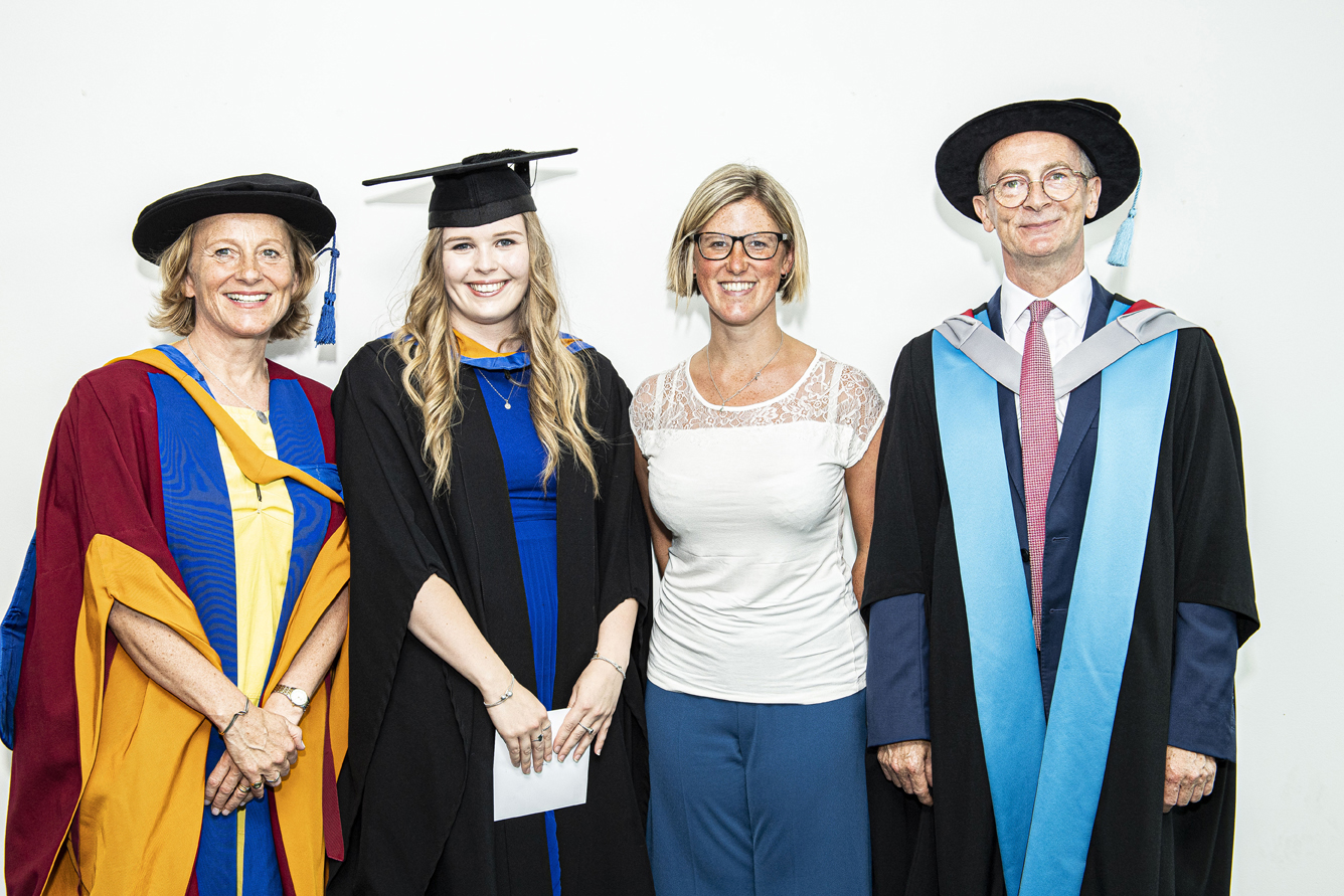 Student Sarah Wilkes with Lucy Laville, Sarah Middleton and Rhodri Thomas
