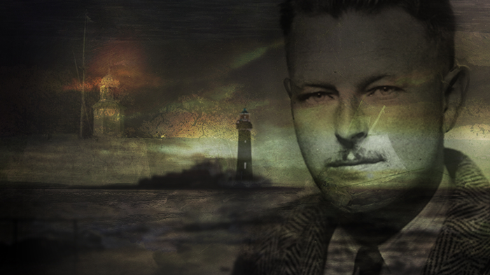 Malcolm Lowry in front of a lighthouse