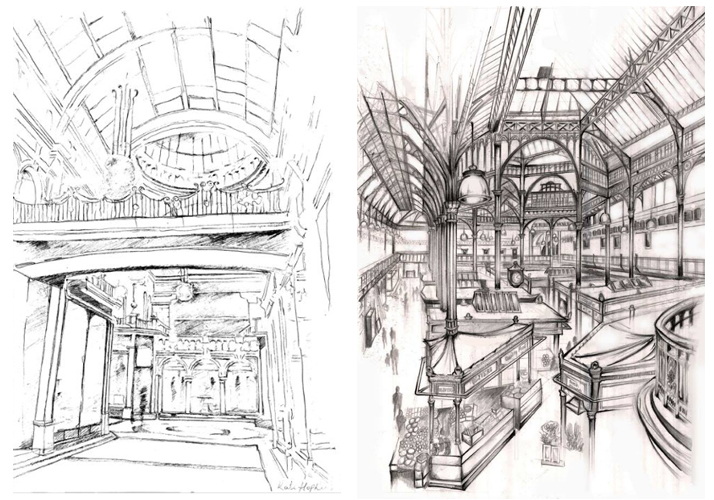 Two Leeds Beckett students commended for sketches of Leeds landmarks