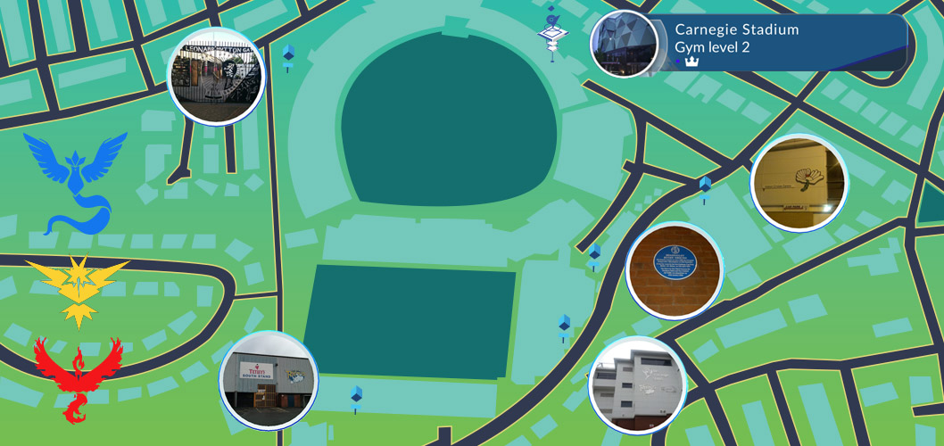 Pokestops and gyms at Carnegie Pavillion