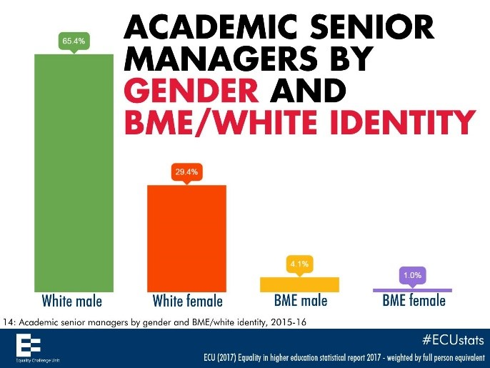 Academic senior managers by gender and BME/white identity
