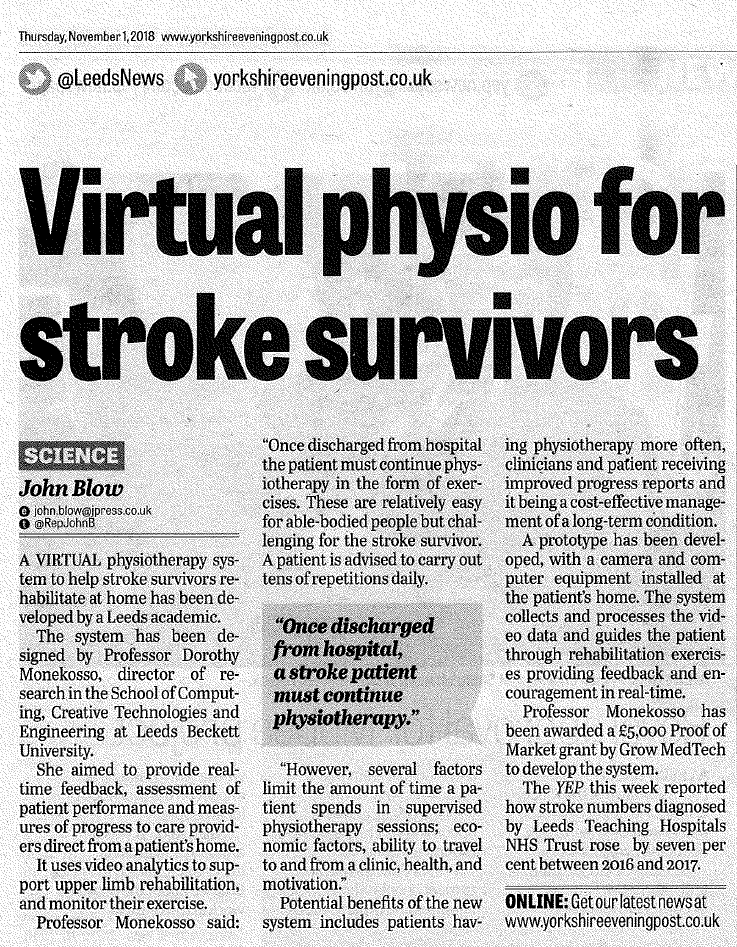 Virtual physio for stroke survivors - Yorkshire Evening Post article