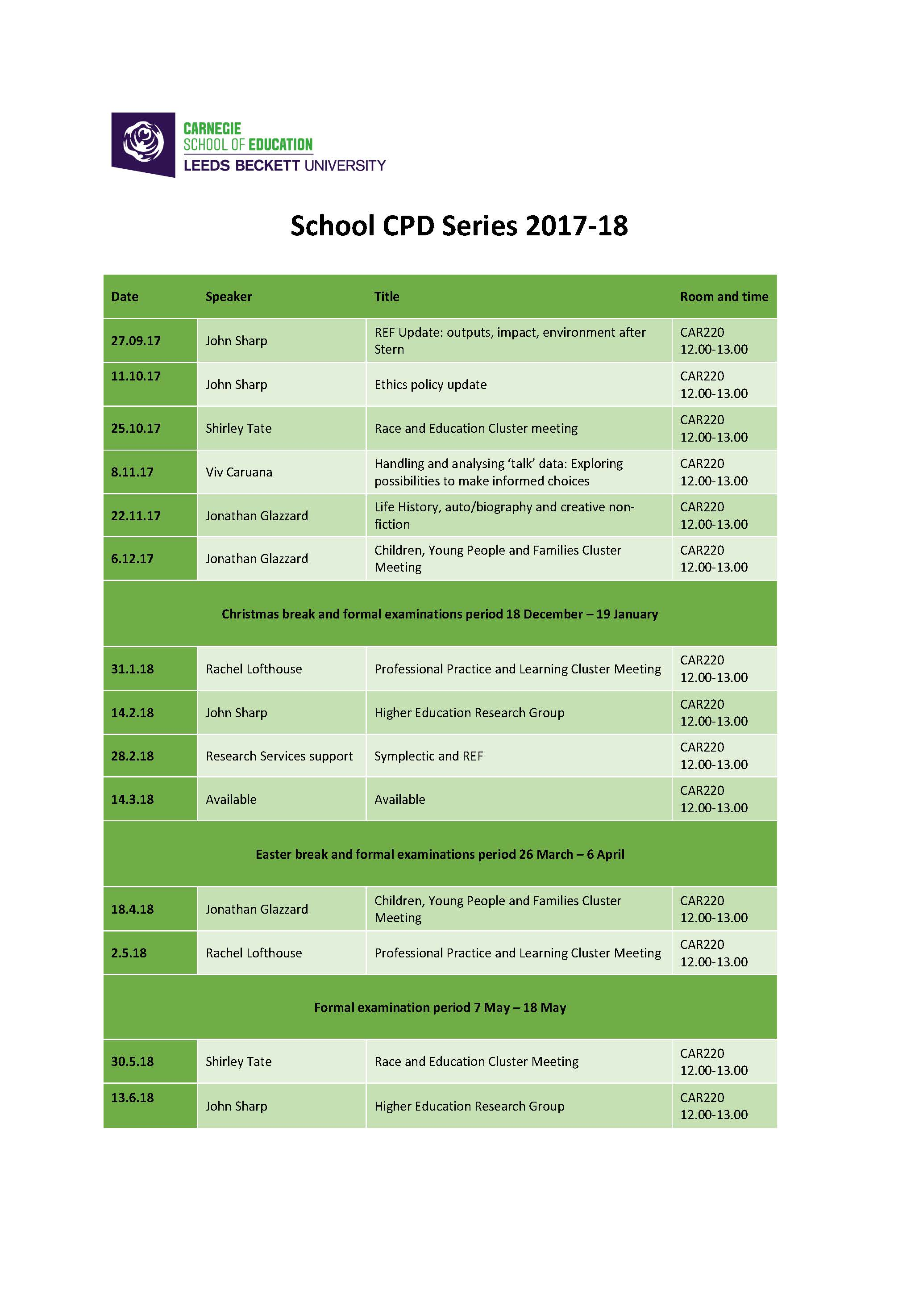 School CPD Series Timetable