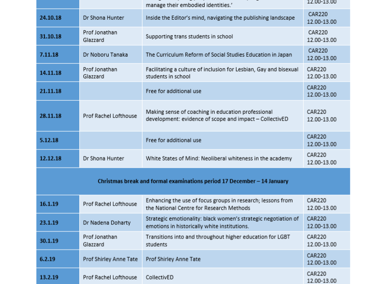 Research Seminar Series Timetable
