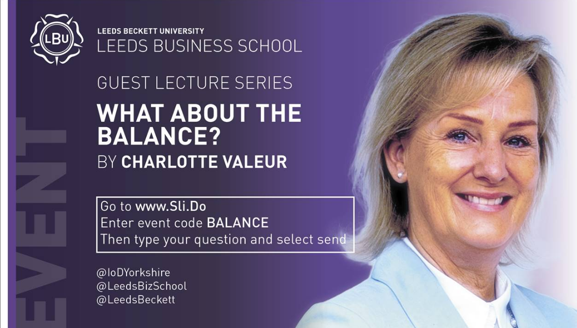 """What about the balance?"" Charlotte Valeur (Chair of the IoD)"