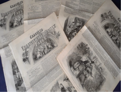 Pile of Victorian newspapers
