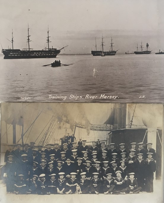 Old images of ships at sea and sailors standing for a photo in front of a docked ship