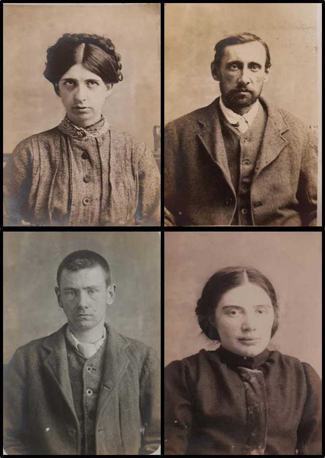 Picture of four patients from the West Riding Pauper Lunatic Asylum