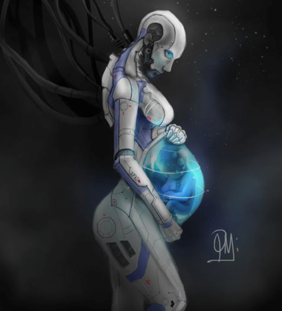 Illustration of a pregnant robot