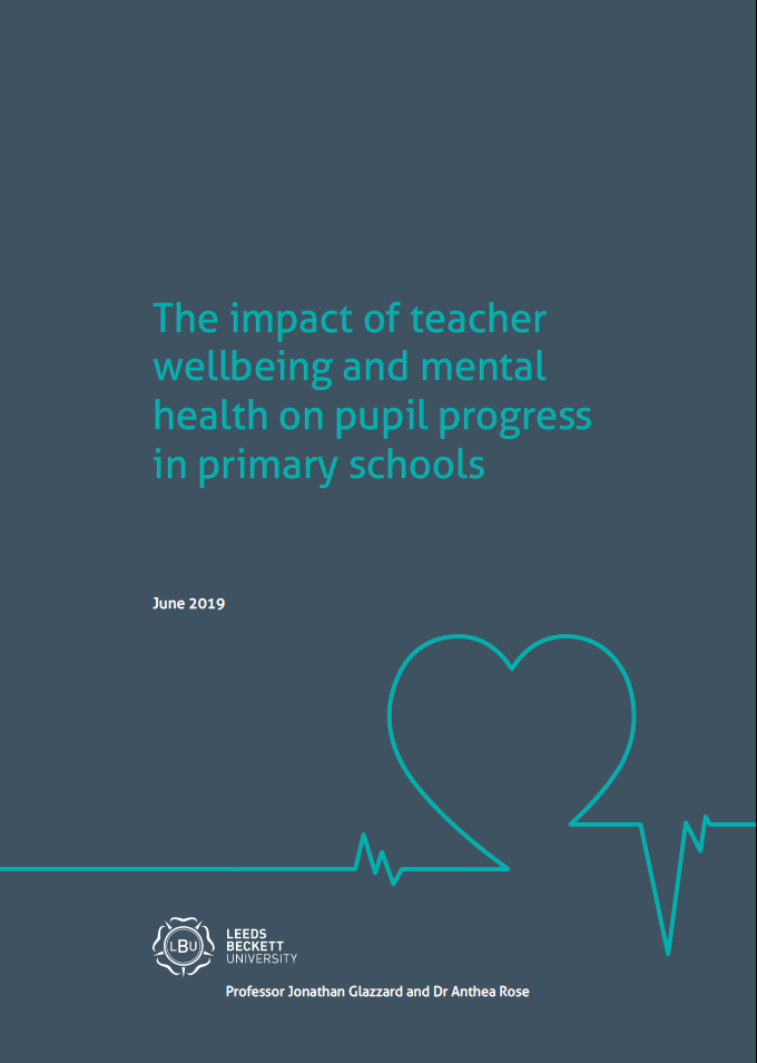impact of teacher wellbeing and mental health cover, navy and blue heart
