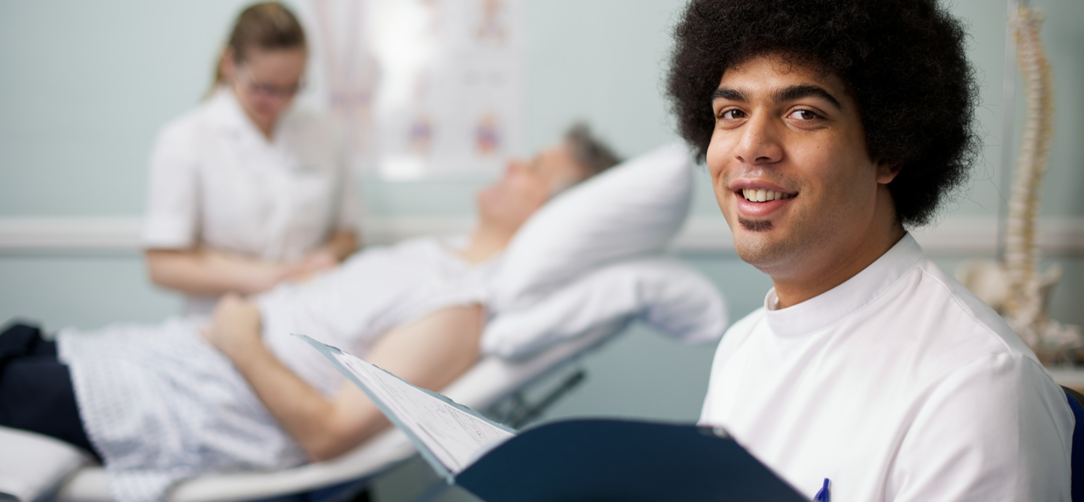 A male student nurse in a learning environment