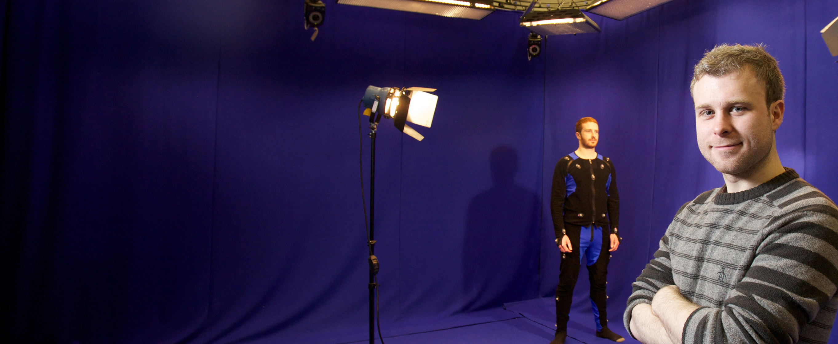 A student in the motion capture studio