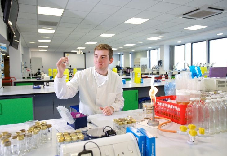 A student working in the science labs