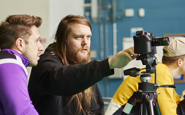 Carnegie School of Sport students using filming equipment