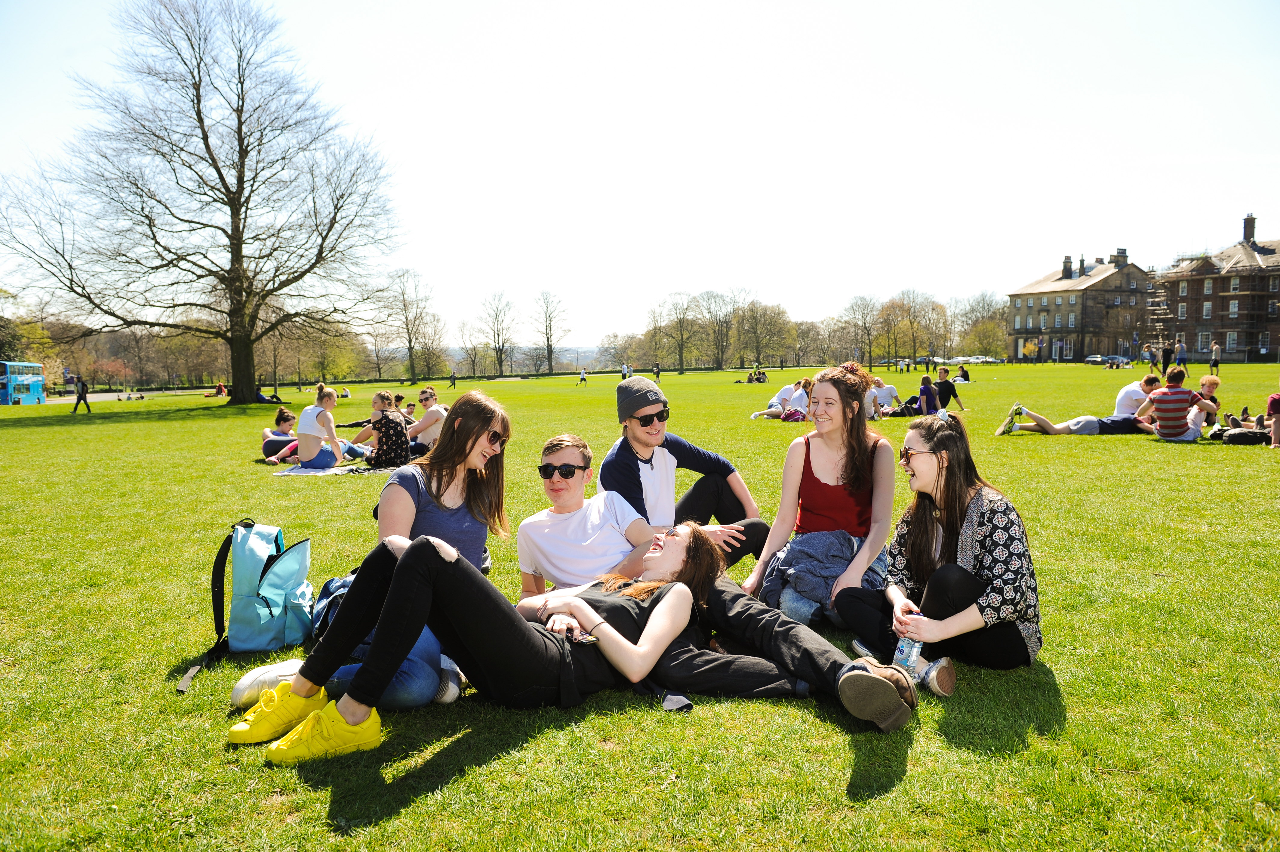 Students enjoying Headingley Campus in the sun