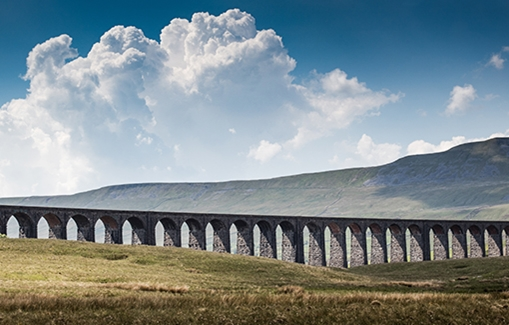 Ribbleshead viaduct in summer