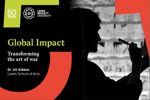 Silhouette of woman drawing. Global Impact: Transforming the art of war.