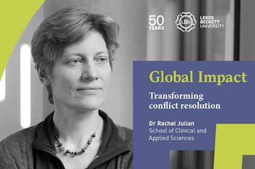 Image of female lecturer with Global Impact, transforming conflict resolution writing over the top