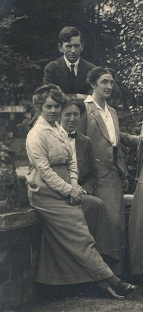 Ethel Gray (front), Zoe Walford and Gertrude Clapham (standing) with Richard Parker (behind).