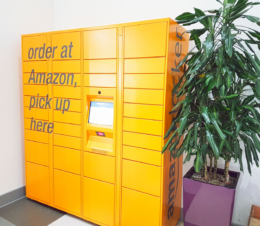 Amazon Lockers in Portland Building
