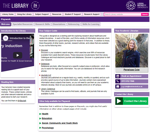 The Library web page