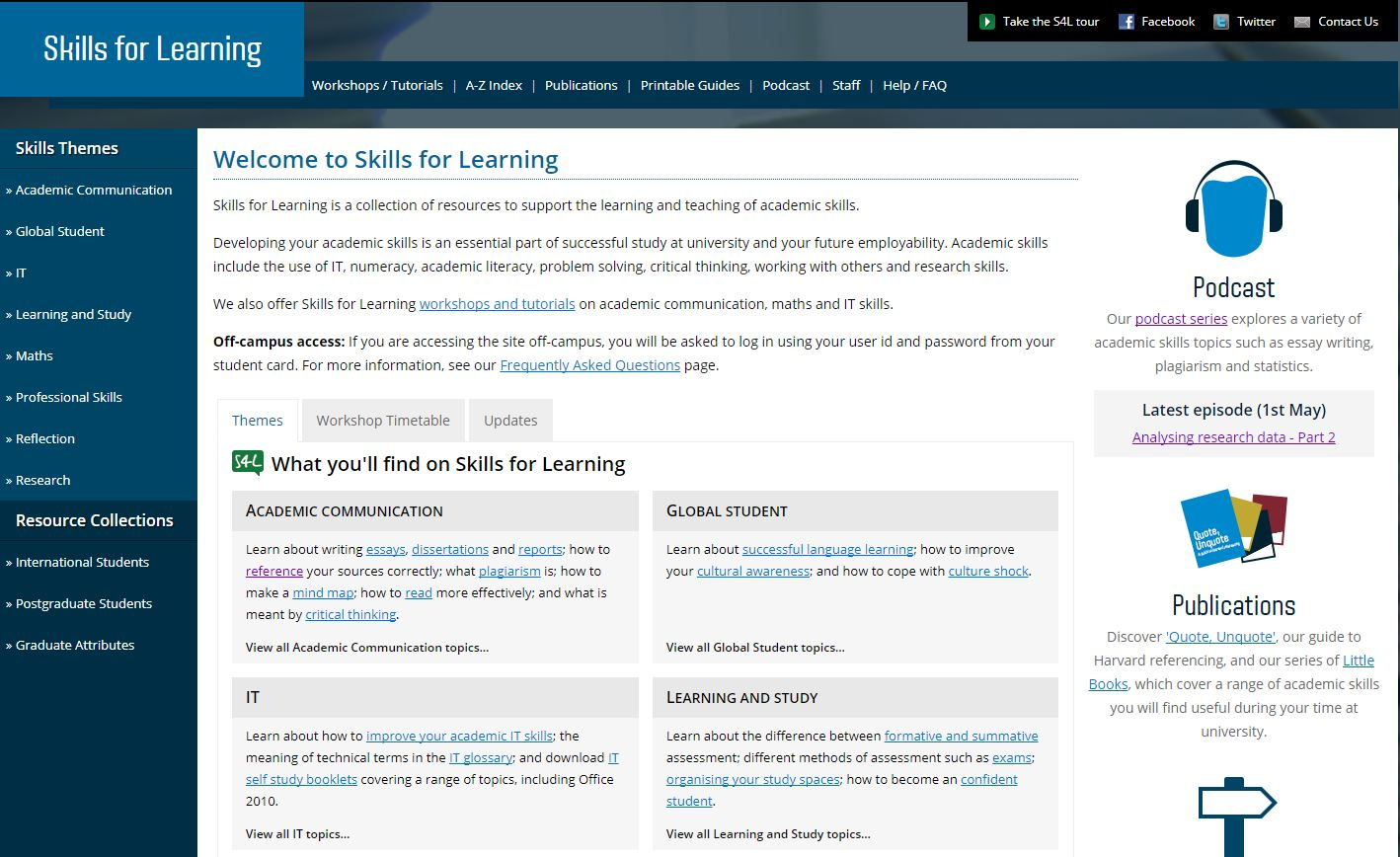 Skills for learning web page