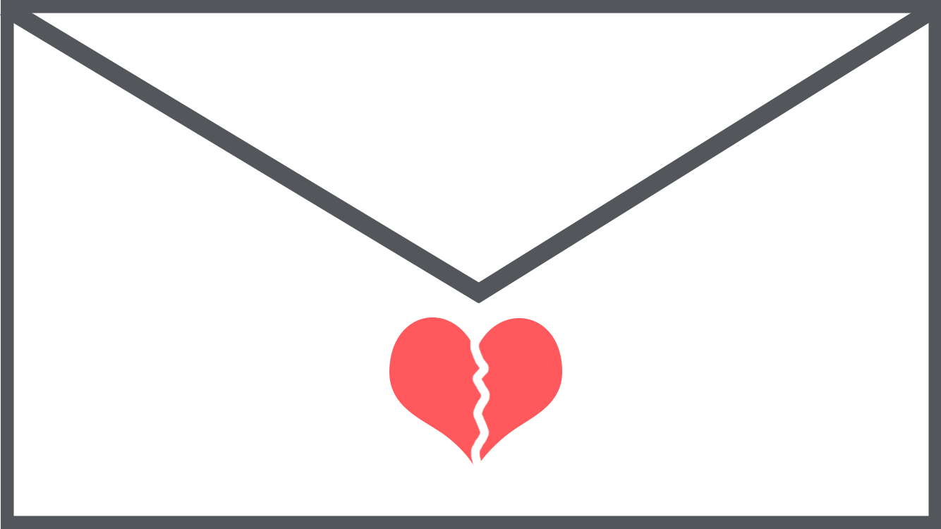 Image of an envelope with a broken heart