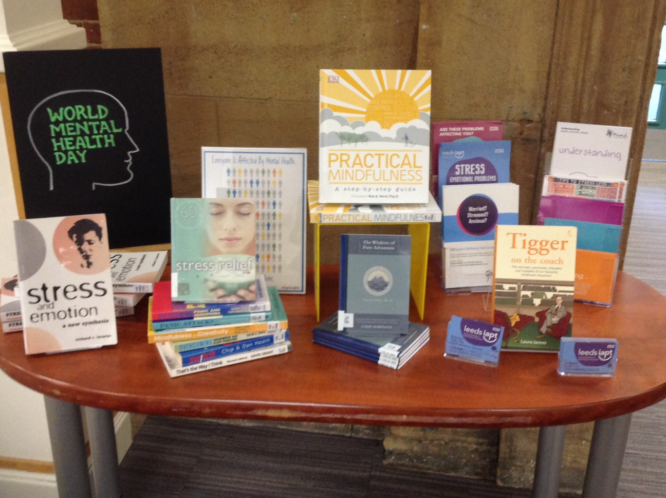 Mental health materials on table