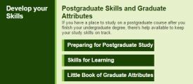 Image showing the postgraduate study box on the Library tab of Mybeckett