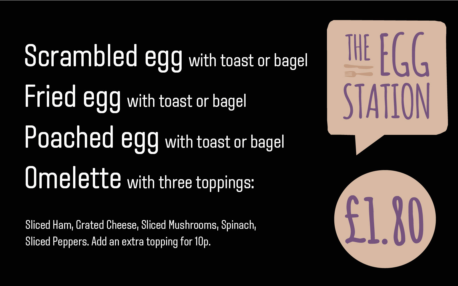 The Egg station menu