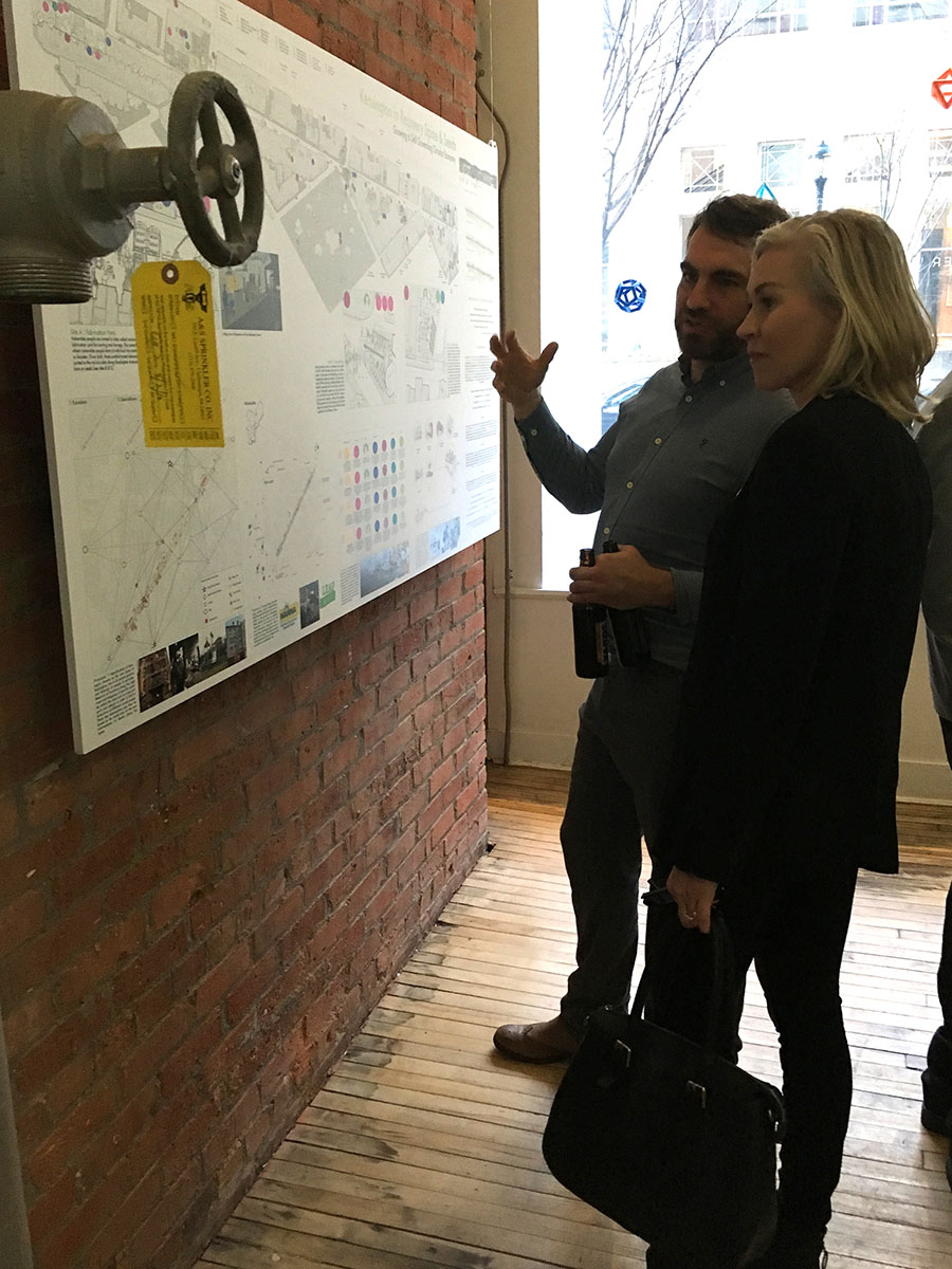 Graham Davey explaining the project to Jennifer Keesmaat