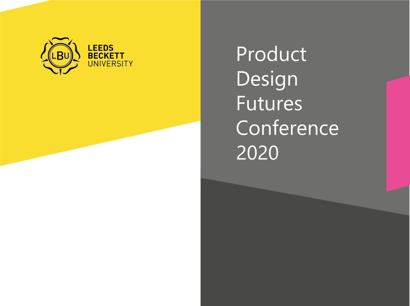 Product Design Futures Conference Poster - title arranged on top of coloured blocks