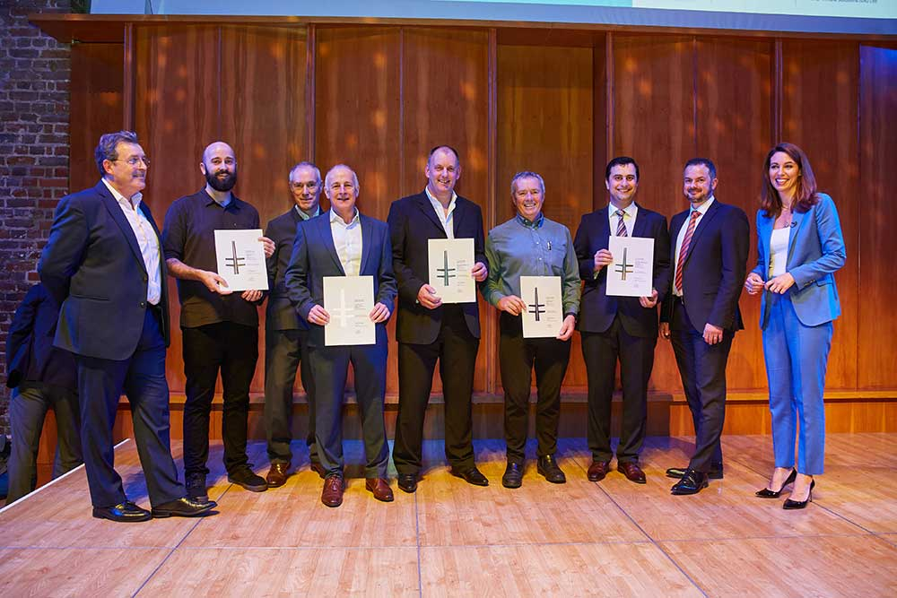 The team with their awards