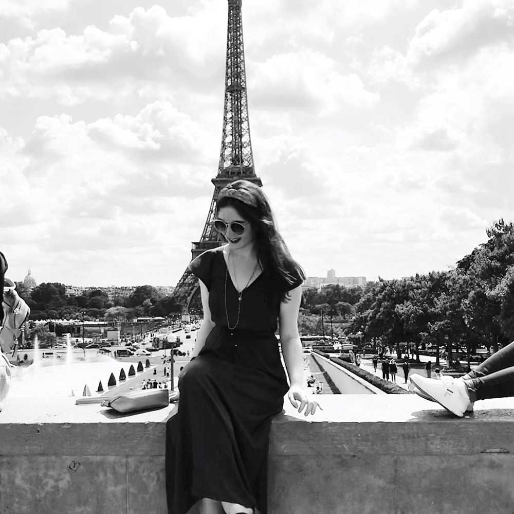 Megan in front of the Eifel Tower