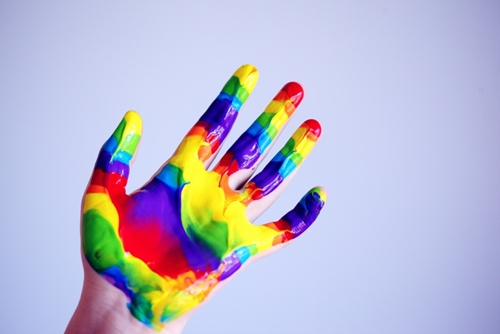brightly painted hand