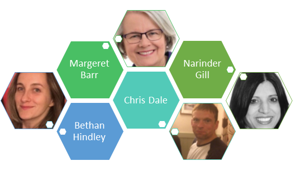 academics images in hexagons with their names