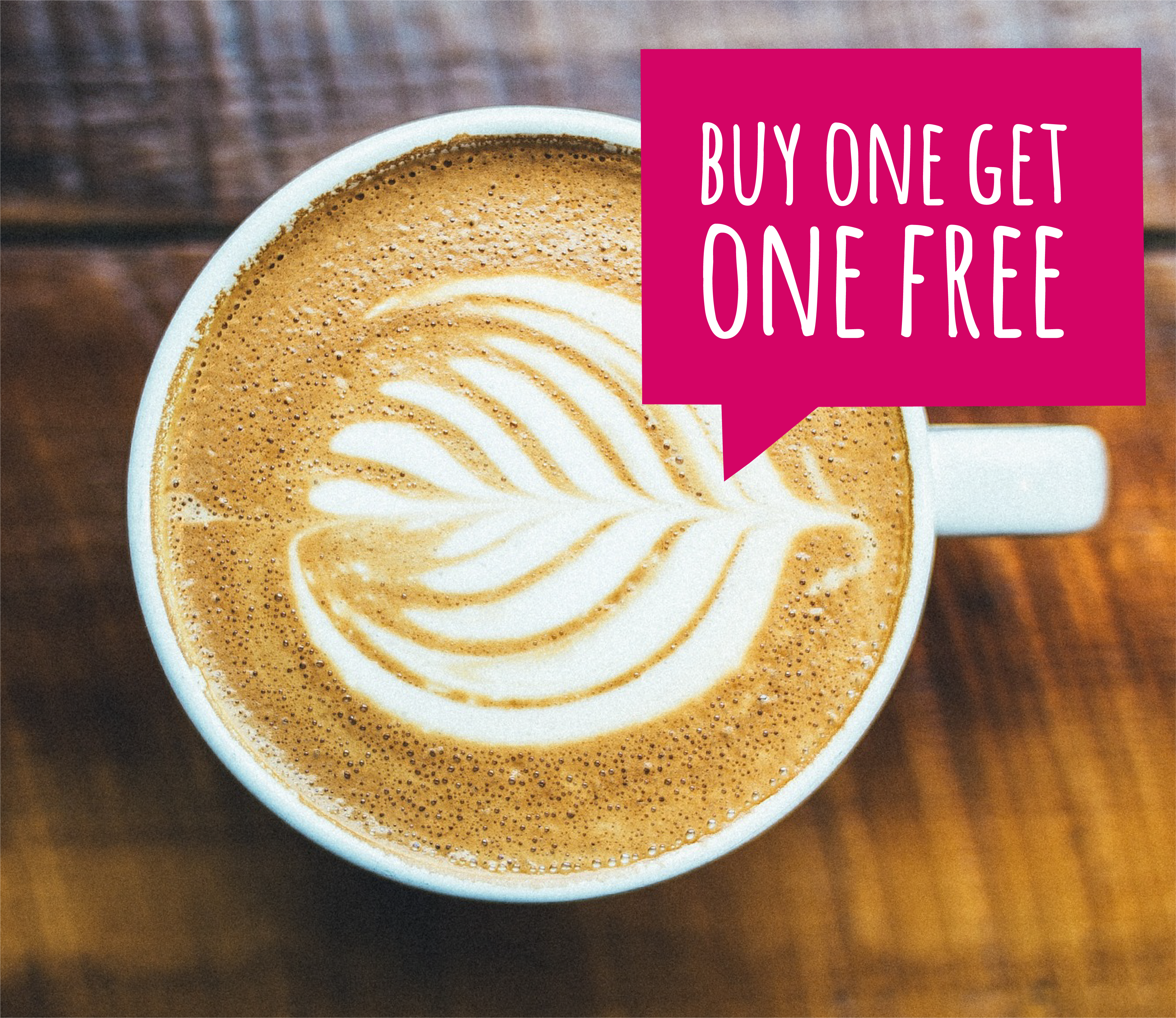 Buy one get one free coffee