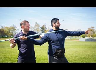 Coaching at a javelin session