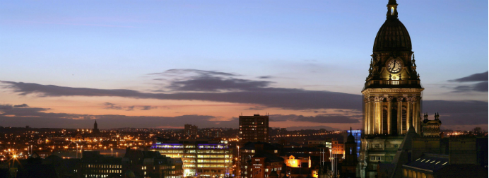 Leeds skyline at night