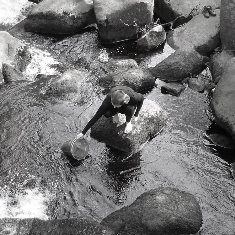 Victoria Sharples in a stream